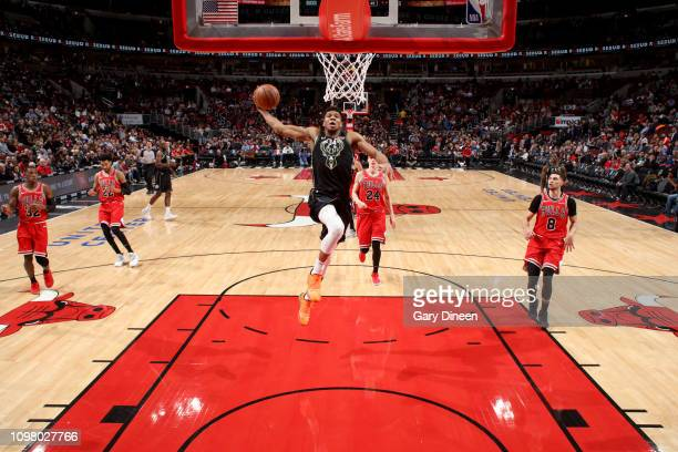 Giannis Antetokounmpo of the Milwaukee Bucks dunks the ball during the game against the Chicago Bulls on February 11 2019 at the United Center in...