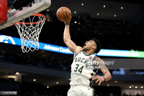 Giannis Antetokounmpo of the Milwaukee Bucks dunks the ball in the third quarter against the Boston Celtics during Game One of Round Two of the 2019...