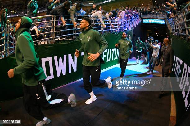 Giannis Antetokounmpo of the Milwaukee Bucks enters the arena before the game against the Boston Celtics in Game Three of Round One of the 2018 NBA...