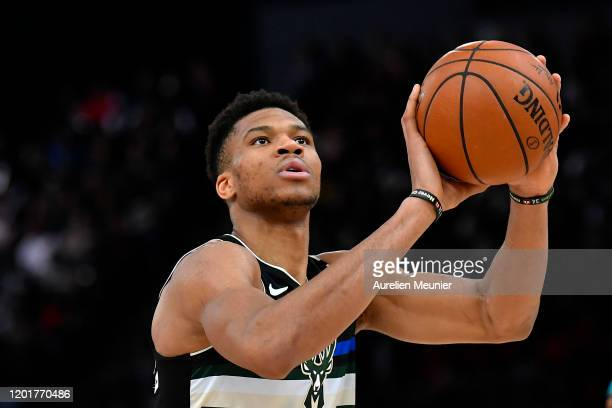 Giannis Antetokounmpo of the Milwaukee Bucks focuses before a free throw during the NBA Paris Game match between Charlotte Hornets and Milwaukee...