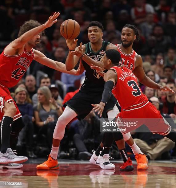 Giannis Antetokounmpo of the Milwaukee Bucks gets off a pass surrounded by Robin Lopez Shaquille Harrison and Wayne Selden of the Chicago Bulls at...