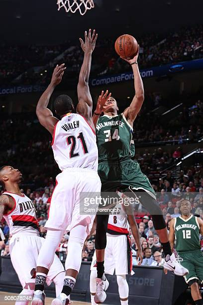 Giannis Antetokounmpo of the Milwaukee Bucks goes for the layup against the Noah Vonleh of the Portland Trail Blazers during the game on February 2...
