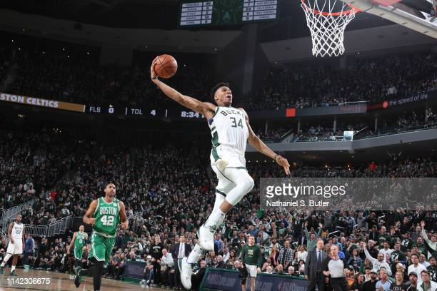Giannis Antetokounmpo of the Milwaukee Bucks goes to the basket against the Boston Celtics during Game Five of the Eastern Conference Semifinals of...