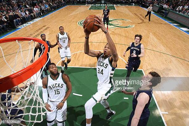 Giannis Antetokounmpo of the Milwaukee Bucks goes to the basket against the New Orleans Pelicans on March 12 2016 at the BMO Harris Bradley Center in...