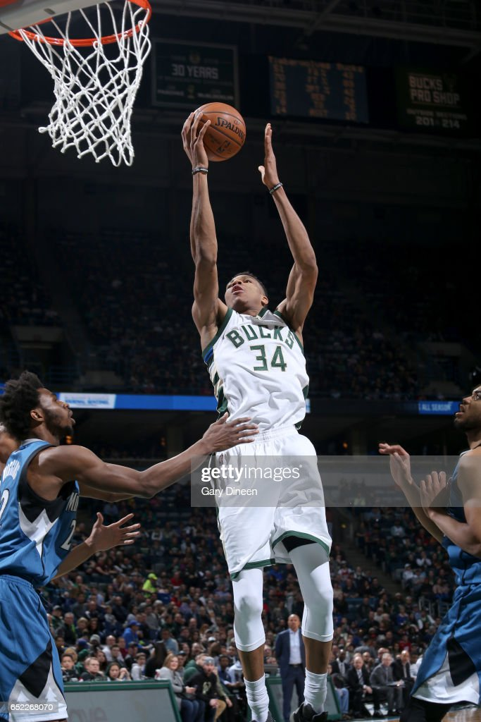 Giannis Antetokounmpo #34 of the Milwaukee Bucks goes to the basket against the Minnesota Timberwolves on March 11, 2017 at the BMO Harris Bradley Center in Milwaukee, Wisconsin.