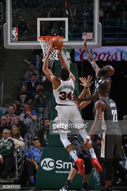 Giannis Antetokounmpo of the Milwaukee Bucks goes to the basket against the Brooklyn Nets on January 26 2018 at the BMO Harris Bradley Center in...