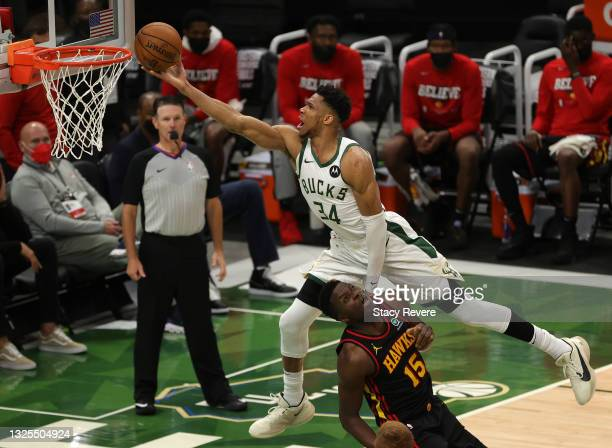 Giannis Antetokounmpo of the Milwaukee Bucks goes up for a shot against Clint Capela of the Atlanta Hawks during the second half in game two of the...