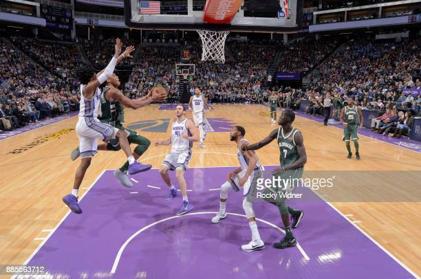 Giannis Antetokounmpo of the Milwaukee Bucks goes up for the shot against the Sacramento Kings on November 28 2017 at Golden 1 Center in Sacramento...