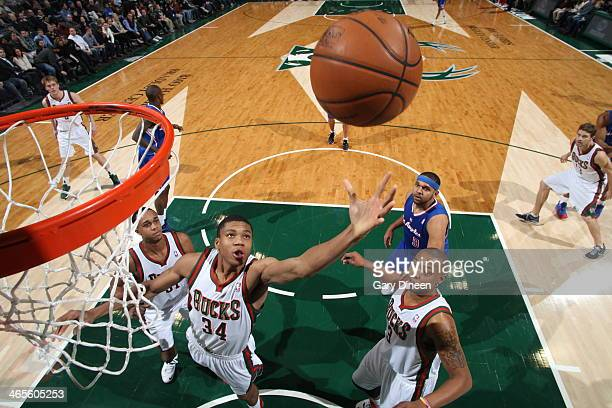 Giannis Antetokounmpo of the Milwaukee Bucks grabs the rebound against the Los Angeles Clippers on January 27 2014 at the BMO Harris Bradley Center...