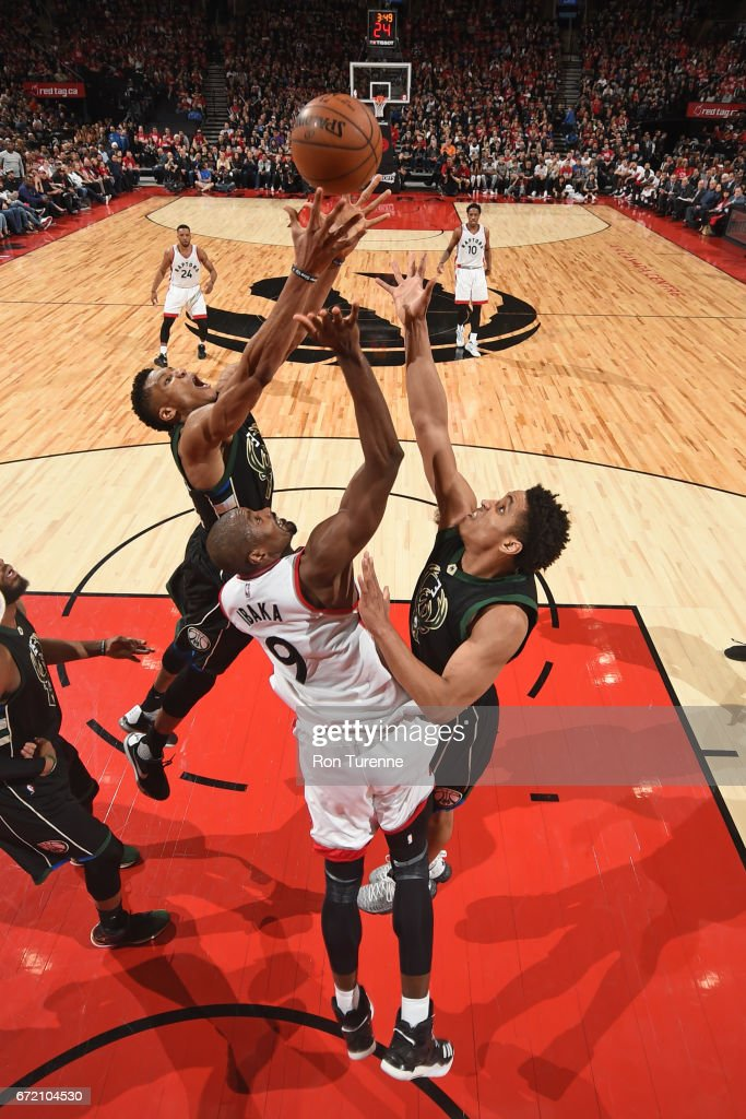 Giannis Antetokounmpo #34 of the Milwaukee Bucks grabs the rebound against the Toronto Raptors in Round One of the Eastern Conference Playoffs during the 2017 NBA Playoffs on April 15, 2017 at the Air Canada Centre in Toronto, Ontario, Canada.