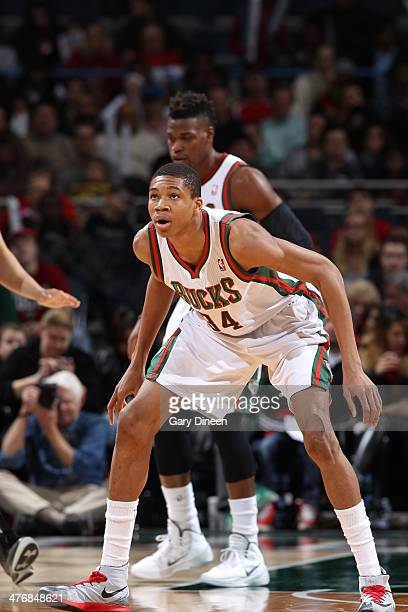 Giannis Antetokounmpo of the Milwaukee Bucks guards the postition against the Utah Jazz on March 3 2014 at the BMO Harris Bradley Center in Milwaukee...