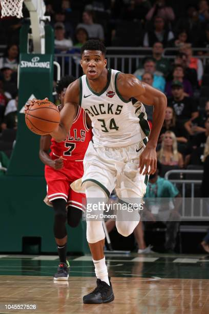Giannis Antetokounmpo of the Milwaukee Bucks handles the ball against the Chicago Bulls during a preseason game on October 3 2018 at Fiserv Forum in...