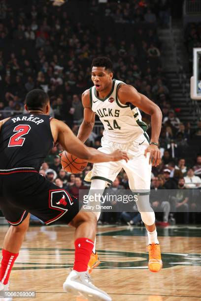 Giannis Antetokounmpo of the Milwaukee Bucks handles the ball against the Chicago Bulls on November 28 2018 at the United Center in Chicago Illinois...