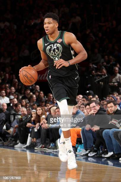 Giannis Antetokounmpo of the Milwaukee Bucks handles the ball against the New York Knicks on December 1 2018 at Madison Square Garden in New York...