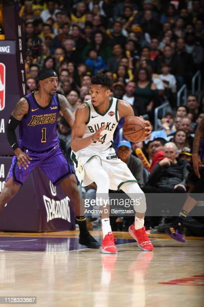 Giannis Antetokounmpo of the Milwaukee Bucks handles the ball against the Los Angeles Lakers on March 1 2019 at STAPLES Center in Los Angeles...
