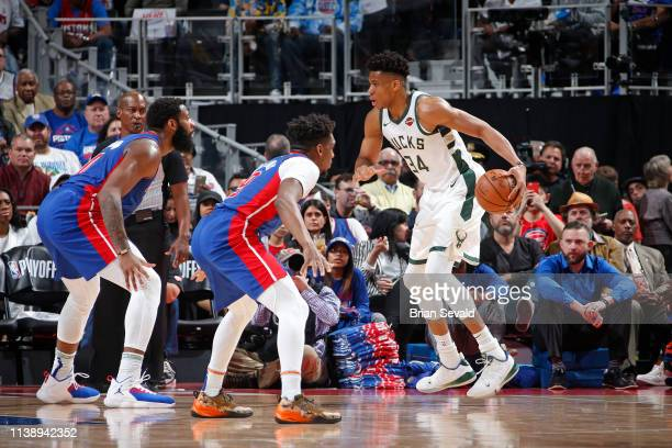 Giannis Antetokounmpo of the Milwaukee Bucks handles the ball against the Detroit Pistons during Game Four of Round One of the 2019 NBA Playoffs on...