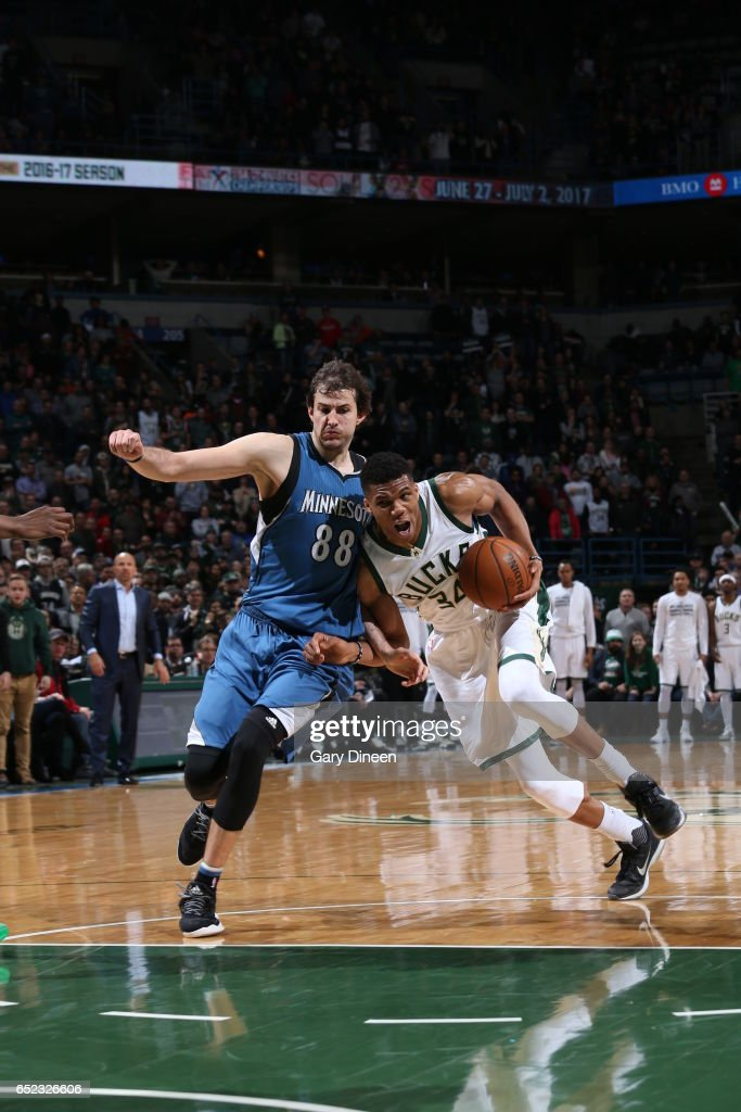 Giannis Antetokounmpo #34 of the Milwaukee Bucks handles the ball against the Minnesota Timberwolves on March 11, 2017 at the BMO Harris Bradley Center in Milwaukee, Wisconsin.