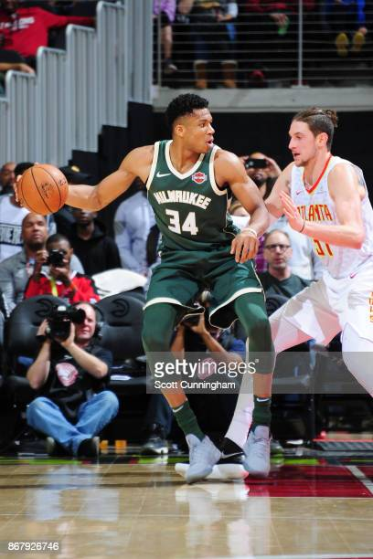Giannis Antetokounmpo of the Milwaukee Bucks handles the ball against the Atlanta Hawks on October 29 2017 at Philips Arena in Atlanta Georgia NOTE...