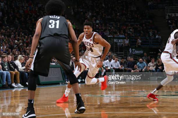 Giannis Antetokounmpo of the Milwaukee Bucks handles the ball against the Brooklyn Nets on January 26 2018 at the BMO Harris Bradley Center in...