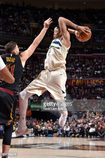 Giannis Antetokounmpo of the Milwaukee Bucks handles the ball against the Cleveland Cavaliers on March 19 2018 at Quicken Loans Arena in Cleveland...