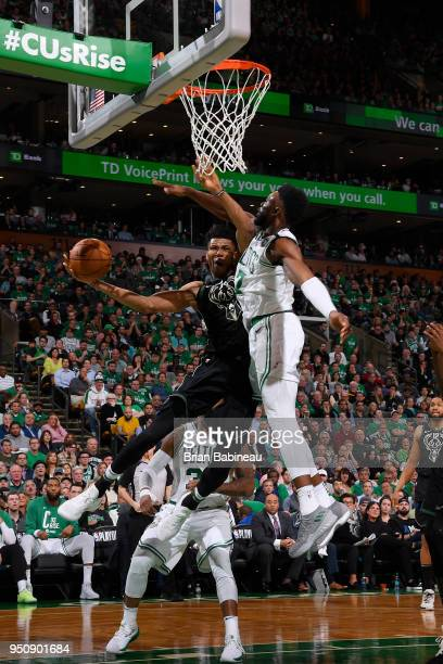 Giannis Antetokounmpo of the Milwaukee Bucks handles the ball against the Boston Celtics Game Five of Round One of the 2018 NBA Playoffs on April 24...