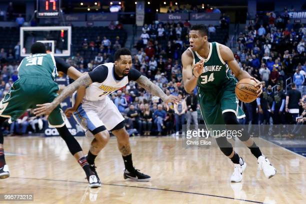 Giannis Antetokounmpo of the Milwaukee Bucks handles the ball against the Denver Nuggets on February 3 2017 at the Pepsi Center in Denver Colorado...