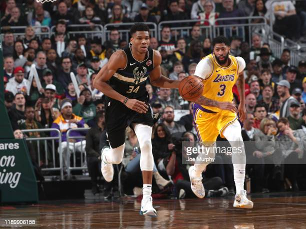 Giannis Antetokounmpo of the Milwaukee Bucks handles the ball during the game against the Los Angeles Lakers on December 19 2019 at the Fiserv Forum...