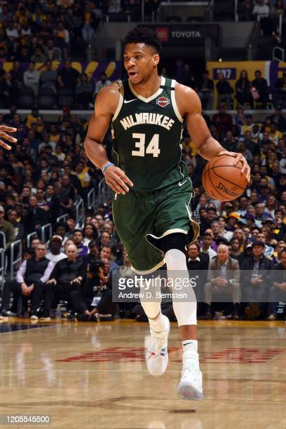 Giannis Antetokounmpo of the Milwaukee Bucks handles the ball during the game against the Los Angeles Lakers on March 6 2020 at STAPLES Center in Los...