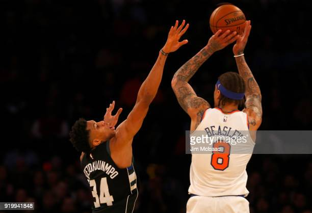 Giannis Antetokounmpo of the Milwaukee Bucks in action against Michael Beasley of the New York Knicks at Madison Square Garden on February 6 2018 in...