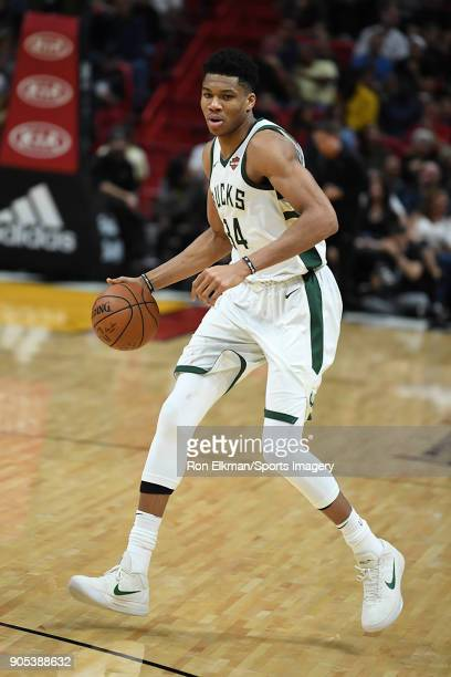 Giannis Antetokounmpo of the Milwaukee Bucks in action against the Miami Heat on January 14 2018 at American Airlines Arena in Miami Florida NOTE TO...