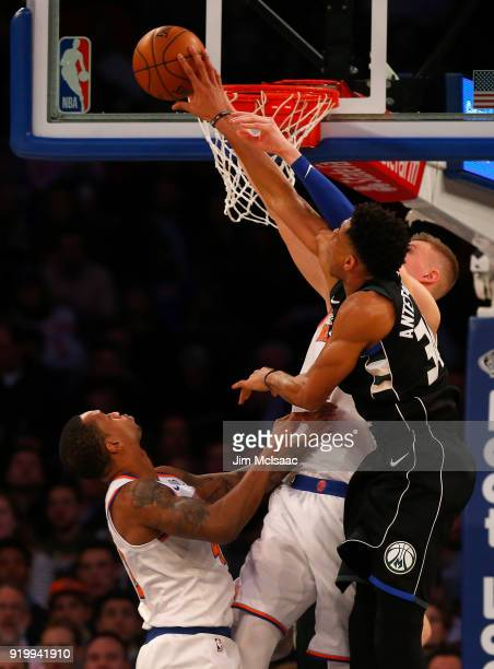 Giannis Antetokounmpo of the Milwaukee Bucks in action against the New York Knicks at Madison Square Garden on February 6 2018 in New York City The...