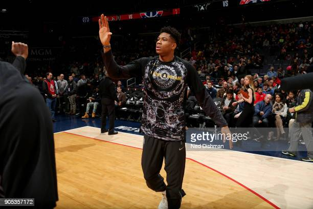 Giannis Antetokounmpo of the Milwaukee Bucks is introduced prior to the game against the Washington Wizards on January 15 2018 at Capital One Arena...