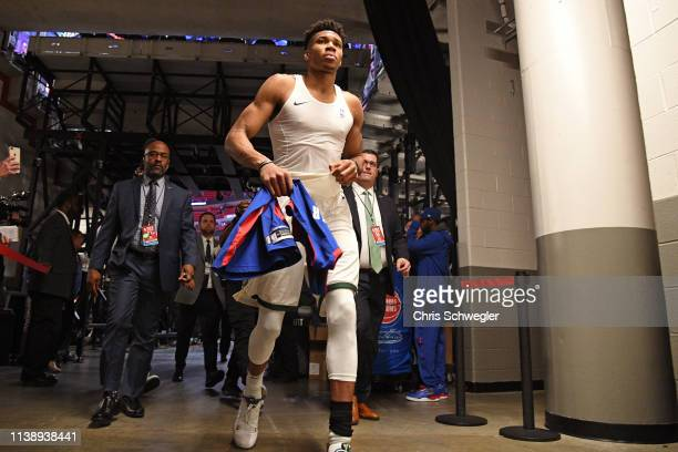 Giannis Antetokounmpo of the Milwaukee Bucks leaves the court after Game Four of Round One against the Detroit Pistons during the 2019 NBA Playoffs...