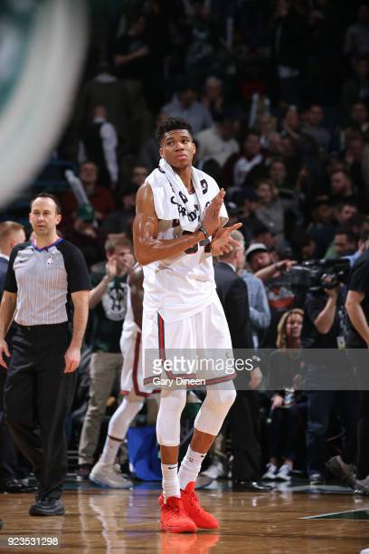Giannis Antetokounmpo of the Milwaukee Bucks looks on after the game against the Brooklyn Nets on January 26 2018 at the BMO Harris Bradley Center in...