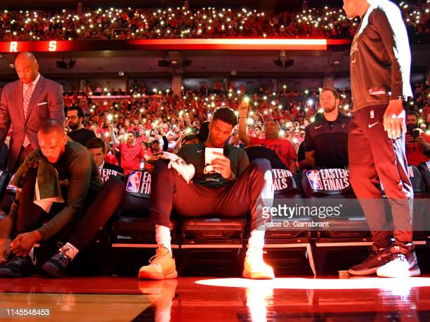 Giannis Antetokounmpo of the Milwaukee Bucks looks on against the Toronto Raptors during Game Four of the Eastern Conference Finals of the 2019 NBA...