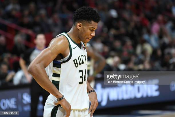 Giannis Antetokounmpo of the Milwaukee Bucks looks on against the Miami Heat on January 14 2018 at American Airlines Arena in Miami Florida NOTE TO...
