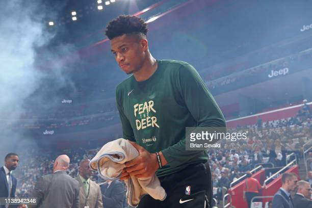 Giannis Antetokounmpo of the Milwaukee Bucks looks on before Game Four of Round One against the Detroit Pistons during the 2019 NBA Playoffs on April...