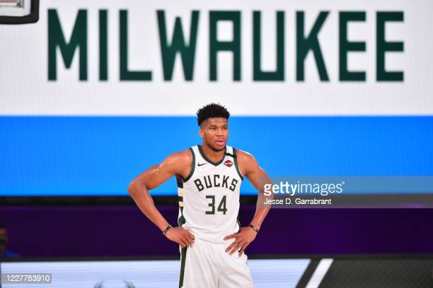 Giannis Antetokounmpo of the Milwaukee Bucks looks on during a scrimmage against the San Antonio Spurs on July 23, 2020 at Visa Athletic Center at...