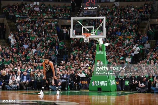 Giannis Antetokounmpo of the Milwaukee Bucks looks on during Game Five of Round One of the 2018 NBA Playoffs against the Boston Celtics on April 24...