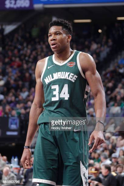 Giannis Antetokounmpo of the Milwaukee Bucks looks on during the game against the Sacramento Kings on November 28 2017 at Golden 1 Center in...
