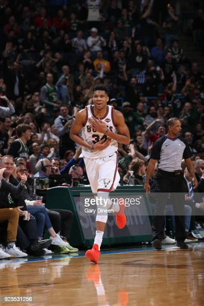Giannis Antetokounmpo of the Milwaukee Bucks looks on during the game against the Brooklyn Nets on January 26 2018 at the BMO Harris Bradley Center...