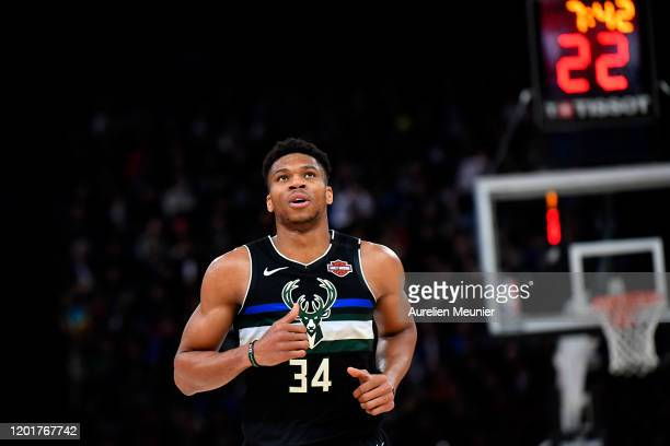 Giannis Antetokounmpo of the Milwaukee Bucks looks on during the NBA Paris Game match between Charlotte Hornets and Milwaukee Bucks on January 24...