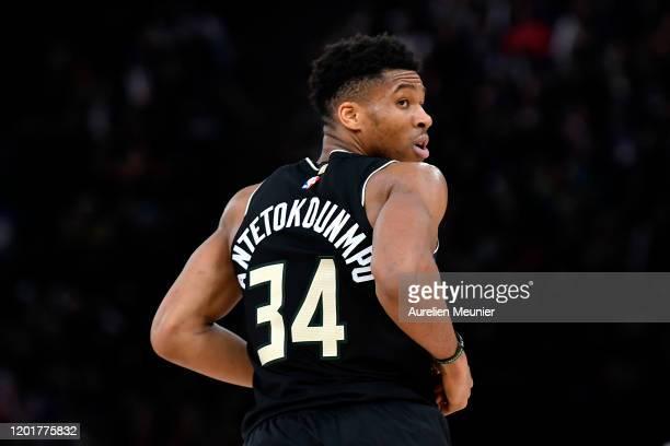 Giannis Antetokounmpo of the Milwaukee Bucks looks on during the NBA Paris Game match between Charlotte Hornets and Milwaukee Bucks on January 24,...