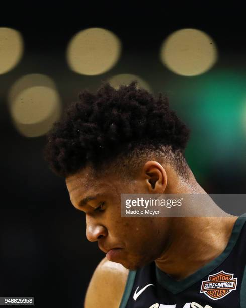 Giannis Antetokounmpo of the Milwaukee Bucks looks on during the third quarter of Game One of Round One of the 2018 NBA Playoffs against the Boston...