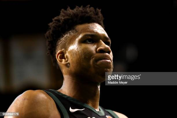 Giannis Antetokounmpo of the Milwaukee Bucks looks on during the second quarter of Game Five in Round One of the 2018 NBA Playoffs at TD Garden on...