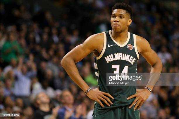 Giannis Antetokounmpo of the Milwaukee Bucks looks on during the second half against the Boston Celtics at TD Garden on December 4 2017 in Boston...