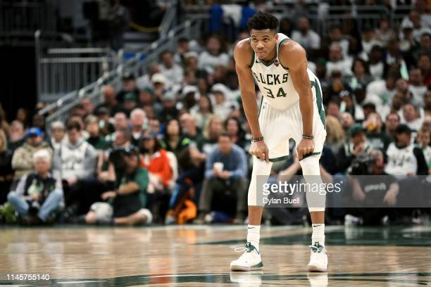 Giannis Antetokounmpo of the Milwaukee Bucks looks on in the third quarter against the Boston Celtics during Game One of Round Two of the 2019 NBA...