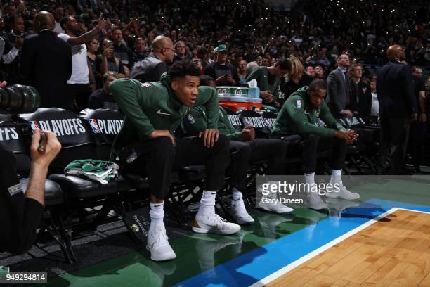 Giannis Antetokounmpo of the Milwaukee Bucks looks on prior to Game Three of Round One of the 2018 NBA Playoffs against the Boston Celtics on April...