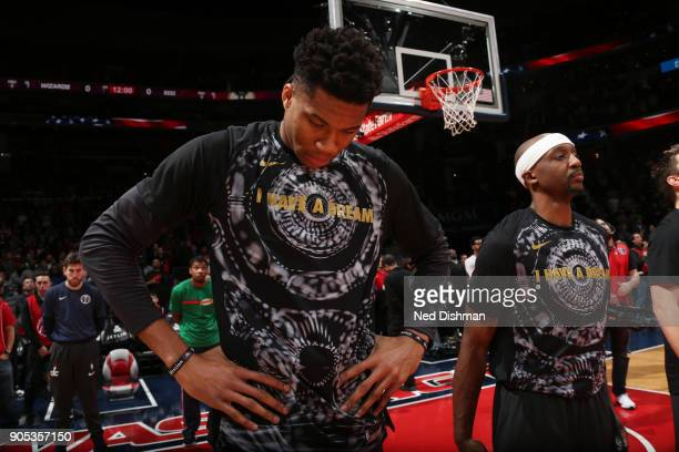 Giannis Antetokounmpo of the Milwaukee Bucks looks on prior to the game against the Washington Wizards on January 15 2018 at Capital One Arena in...