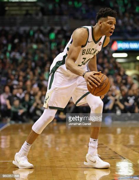 Giannis Antetokounmpo of the Milwaukee Bucks moves against the Boston Celtics during Game Four of Round One of the 2018 NBA Playoffs at the Bradley...